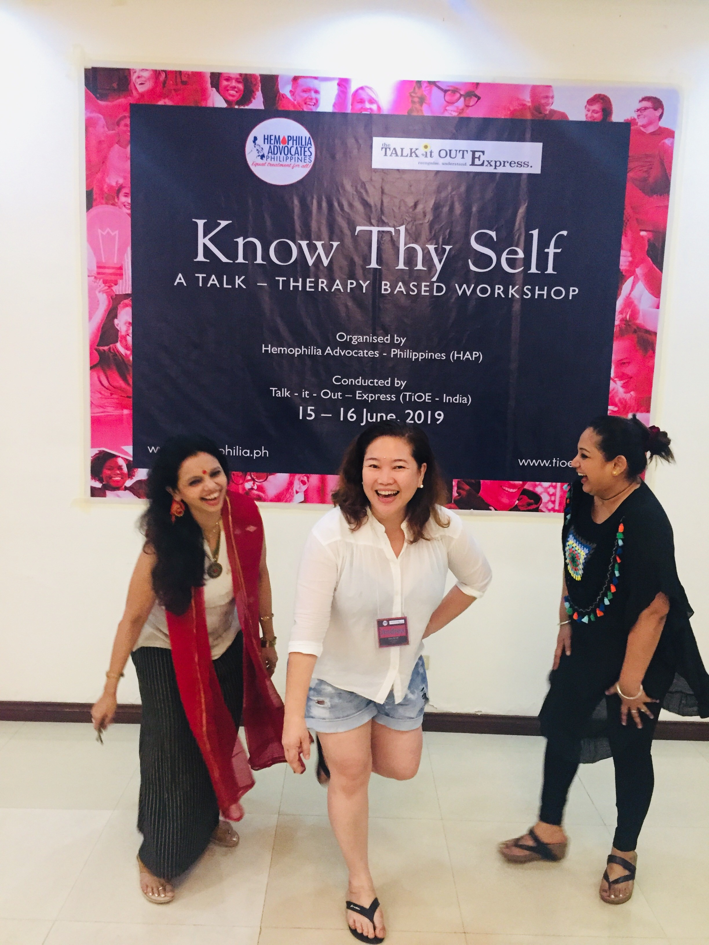 TiOE Founder and Philippines Workshop facilitator, Sujata Parashar (R) with HAP President, Andrea Trinidad (C) and Clinical psychologist and TiOE facilitator Tania Laskar (L) fun moment at workshop